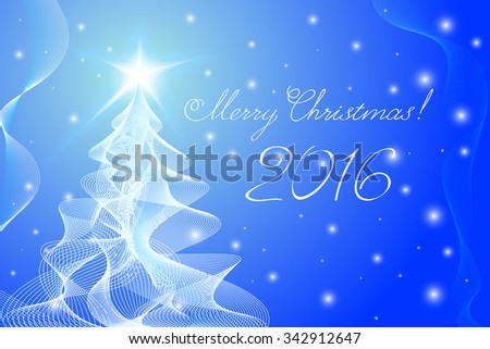 Merry Christmas Tree in guilloche style. Vector EPS10.