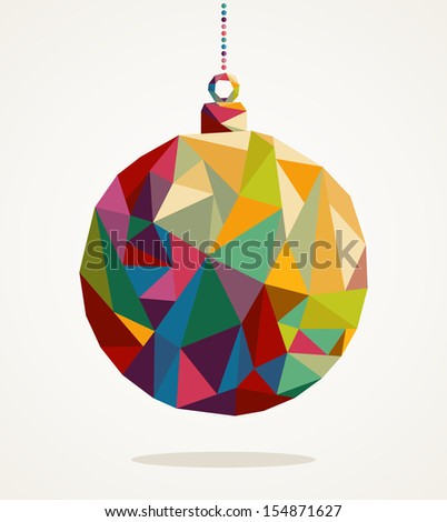 Merry Christmas trendy circle bauble made with colorful triangles composition. EPS10 vector file organized in layers for easy editing. - stock vector