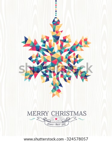 Merry Christmas trendy hipster snowflake made with colorful geometry triangles on wood background. Ideal for holiday greeting card, xmas poster or web template. EPS10 vector. - stock vector