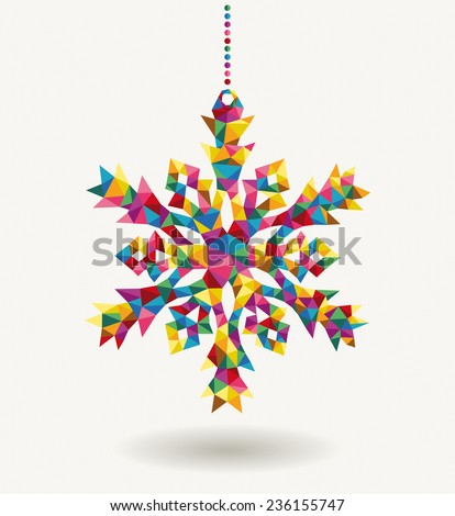 Merry Christmas trendy retro snowflake made with colorful triangles composition. Ideal for holidays greeting card, poster or web template. EPS10 vector organized in layers for easy editing. - stock vector