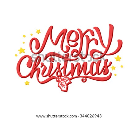 Merry Christmas typographic label with golden stars isolated on white. Background with hand lettering for christmas. Merry Christmas greeting card. Vector doodle illustration.  - stock vector