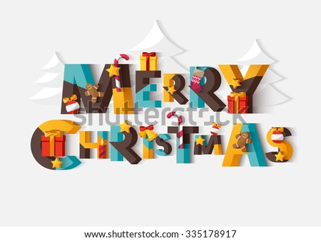 Merry Christmas typographic poster - stock vector