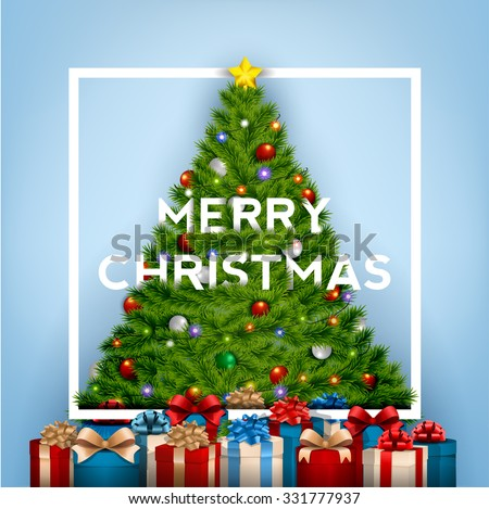 Merry Christmas Typographical Background With Christmas Tree And Gift Boxes - stock vector