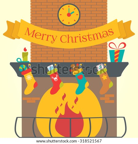 Merry Christmas Vector Background. Fireplace at home - stock vector