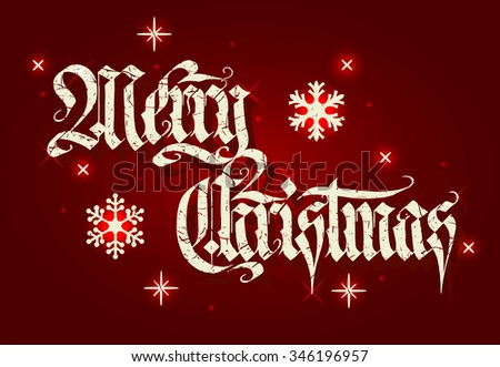 Merry Christmas vector calligraphic lettering design. Hand written typography greeting card with snowflakes in beige over red. - stock vector