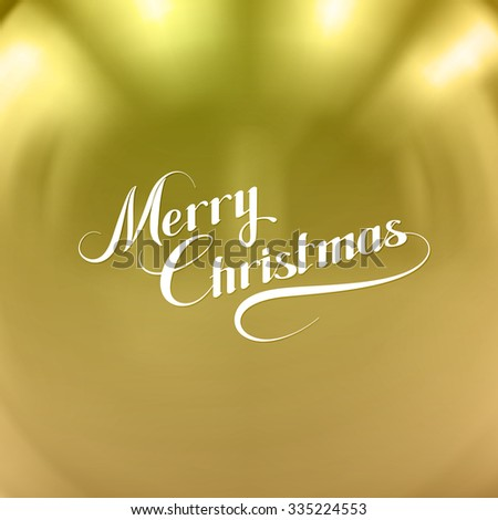 Merry Christmas. Vector Holiday Illustration With Lettering Label On Golden Background - stock vector