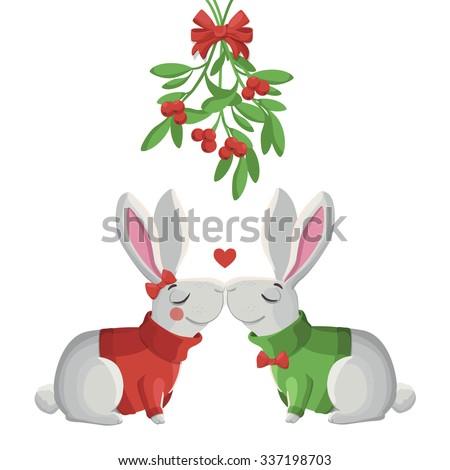 Merry Christmas vector illustration. Two funny vector rabbits kissing under mistletoe. - stock vector