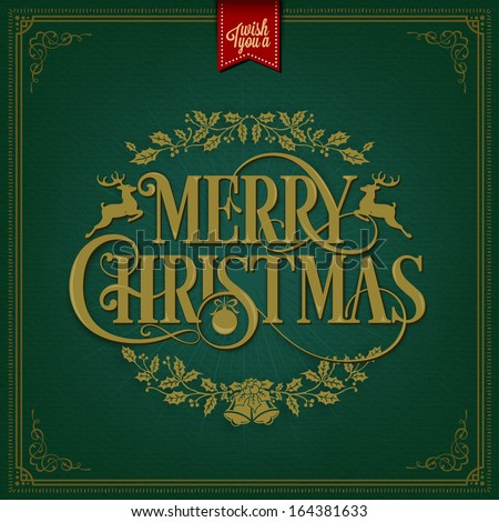 Merry Christmas Vintage Christmas Background  With Typography - stock vector