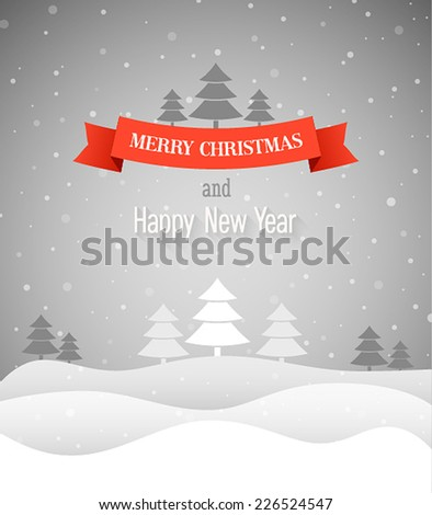 Merry Christmas vintage greeting card. Vector illustration. - stock vector