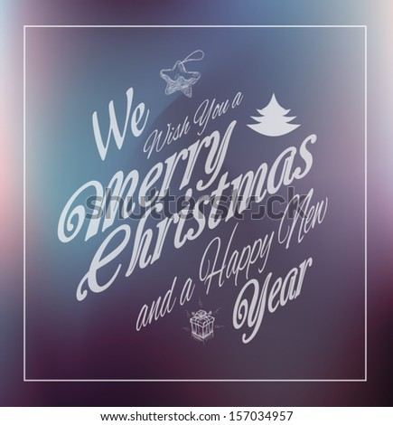 Merry Christmas Vintage retro typo background for your greetings or invitation covers. - stock vector