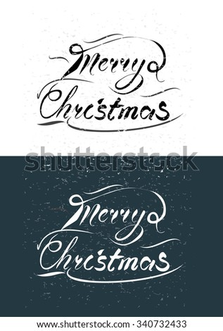Merry Christmas vintage text. Vector calligraphy for a card, brochure, banner. - stock vector