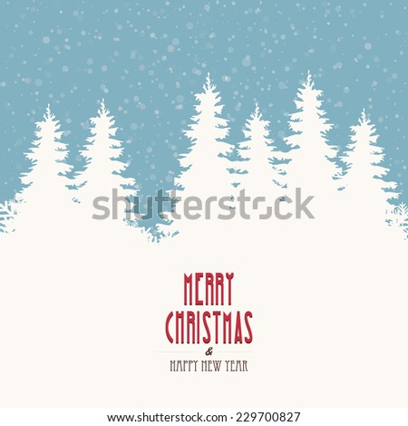 merry christmas vintage winter landscape - stock vector