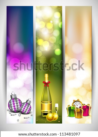 Merry Christmas website banner set decorated with eve balls, gifts, champagne, snowflakes and lights. EPS 10. - stock vector