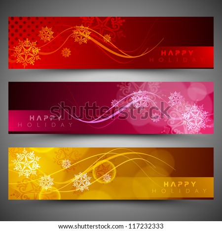 Merry Christmas website header and banner decorated with snowflake design. EPS 10. - stock vector