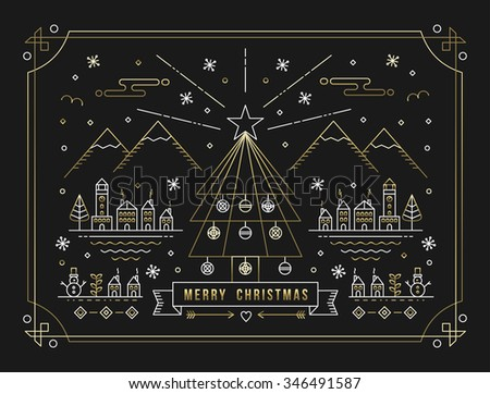 Merry Christmas winter city with decoration, Xmas tree and holiday elements in gold outline style. Ideal for greeting card, poster or web. EPS10 vector.  - stock vector