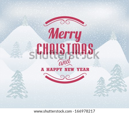 Merry Christmas winter landscape.Vector  - stock vector