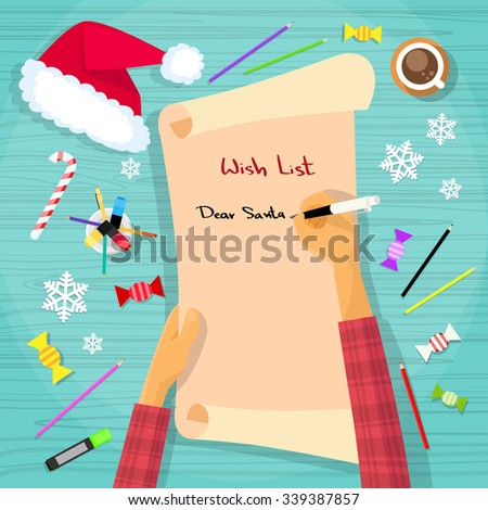 Merry Christmas Wish List To Santa Clause Child Hand Writing Pen on Paper Desk Flat Vector Illustration - stock vector