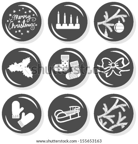 Merry Christmas wishes candles Christmas tree branches socks gloves holly bow sledge winter holidays celebration flat monochrome icon set  - stock vector