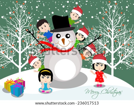Merry christmas with happy kids with snowman - stock vector