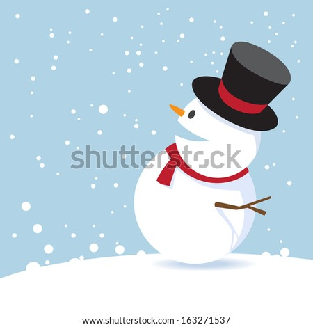 Merry Christmas with snowman, vector illustration design. - stock vector