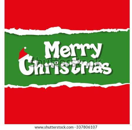 Merry Christmas with torn paper vector background - stock vector