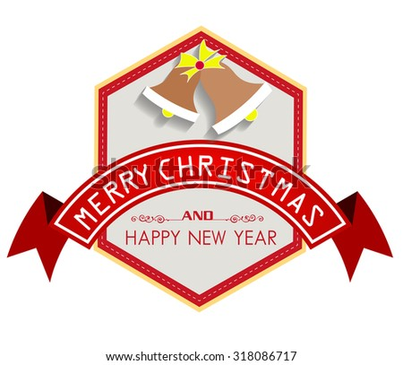 Merry Christmas with vintage labels vector illustration - stock vector
