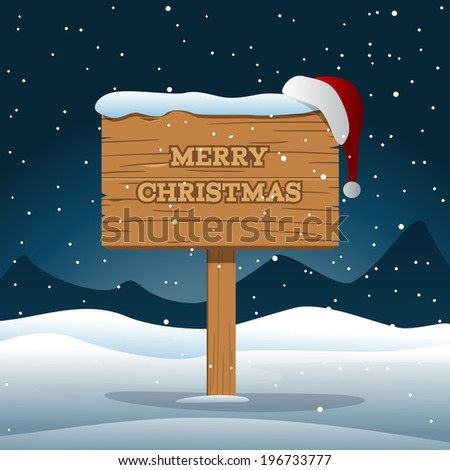 Merry Christmas Wooden Board - stock vector