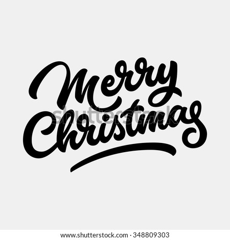 Merry Christmas, xmas badge with handwritten lettering, calligraphy ...