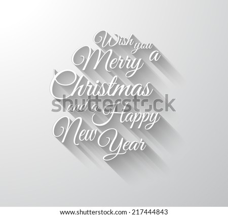 Merry Chrstimas Retro Typography slogan with long shadows. Shadows are transparent so ready to copy on every surface. - stock vector
