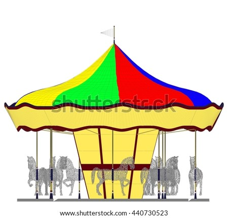 Merry-Go-Round Horse Carousel Vector 41 - stock vector