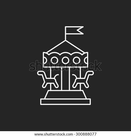 merry-go-round line icon - stock vector