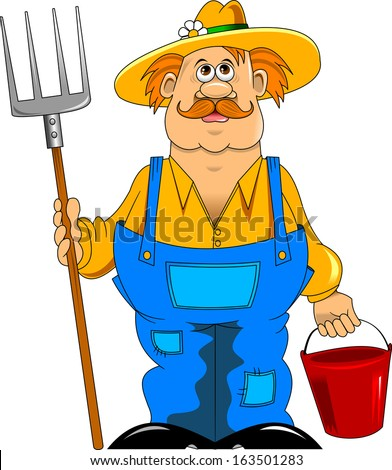 merry mustachioed farmer with a pitchfork and bucket - stock vector