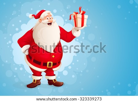 Merry Santa Claus holds Christmas gift in box. vector illustration. Transparent objects used for lights and shadows drawing. - stock vector