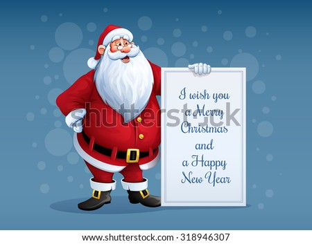 Merry Santa Claus standing with christmas greetings banner in arm. Eps10 vector illustration - stock vector