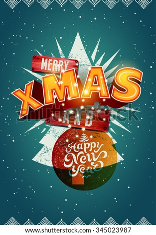 Merry Xmas and Happy New Year! Christmas poster design. Vector illustration. Eps10. - stock vector