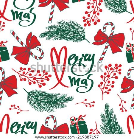 Merry Xmas seamless pattern - stock vector