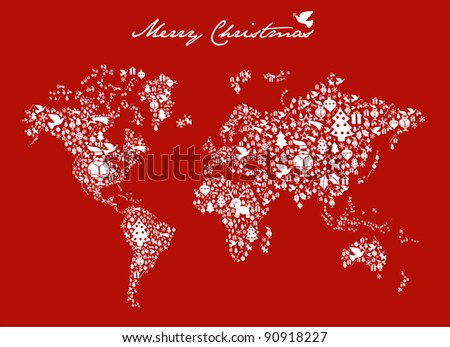 Merry Xmas with icon set in globe world map background. Vector file available. - stock vector