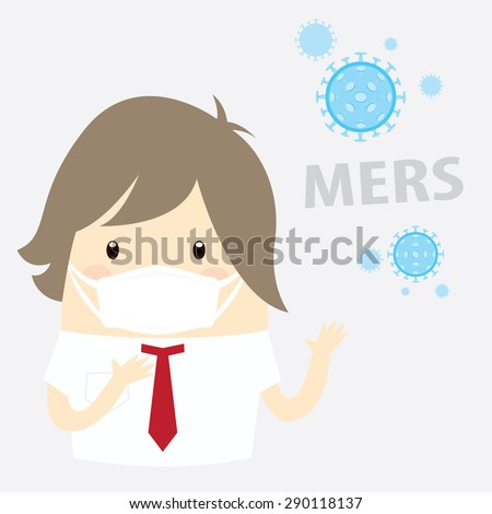 Mers-CoV (Middle East respiratory syndrome coronavirus), businessman with hygiene mask - stock vector