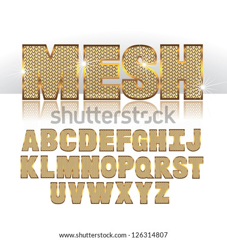 Mesh font alphabet symbol icon letters A through Z EPS 8 vector no open shapes or paths grouped for easy editing. - stock vector