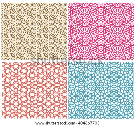 mesh geometric seamless pattern in tracery style - stock vector