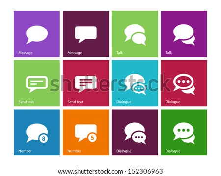 Message bubble icons on color background. Vector illustration. - stock vector
