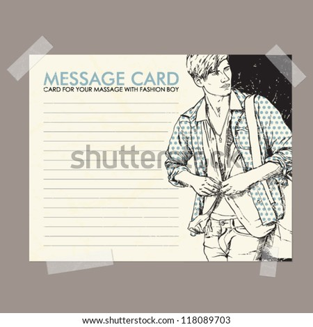 Message card with stylish dude fixed with sticky tape. Vector illustration. - stock vector