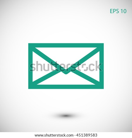 Message, closed envelope icon - stock vector