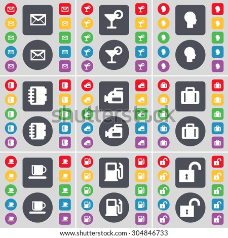 Message, Cocktail, Silhouette, Notebook, Videocamera, Suitcase, Cup, Gas station, Lock icon symbol. A large set of flat, colored buttons for your design. Vector illustration - stock vector