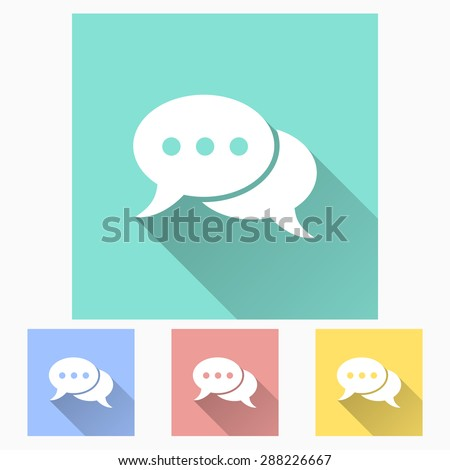 Message - icon is white with long shadow, flat design. Vector illustration. - stock vector