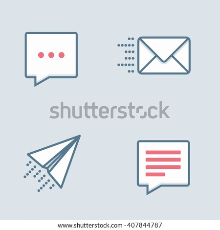 Message icons. Conversation clouds, paper plane, mail. - stock vector