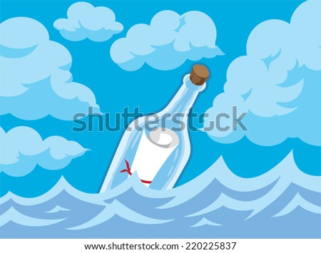 Message in a bottle   - stock vector