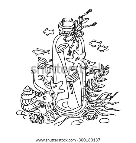 Message in a bottle on sea bottom. Free hand drawing. Good for coloring books - stock vector