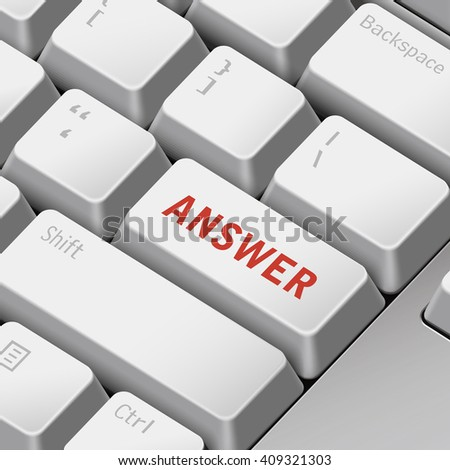 message on 3d illustration keyboard enter key for answer concepts - stock vector