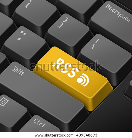 message on 3d illustration keyboard enter key for rss concepts - stock vector